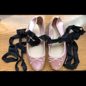 H&M pink satin ballet flats with ties